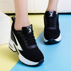 Image 5 - Fashion Air Mesh Height Increased Casual Shoes Woman Breathable Lace Up Platform Sneakers Hide Heels Women Wedge Sneakers XZ127