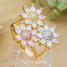 Newness Three Luxury Flower Super Cubic Zirconia Women Engagement Silver Color 3 Tone Rings Fashion Jewelry