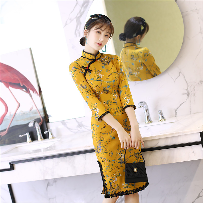 High Quality Elegant Suede Fabric Qipao Chinese National Women Daily Dress Three Quarter Sleeve Print Short Cheongsam S-2XL