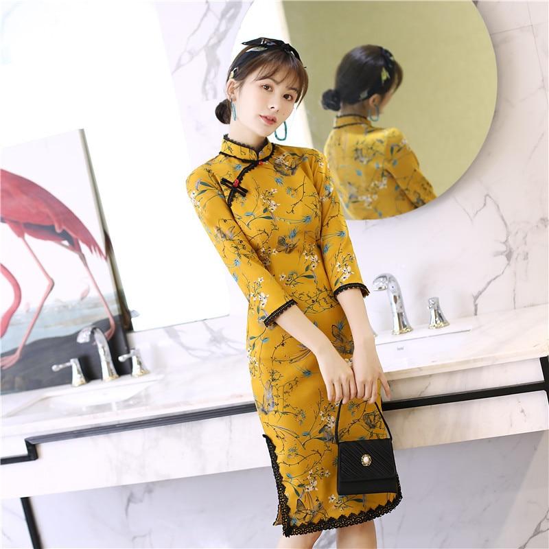 High Quality Elegant Suede Fabric Qipao Chinese National Women Daily Dress Three Quarter Sleeve Print Short Cheongsam S-2XL