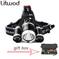 Led Flashlight Torch 3T6 Headlamp 3x XM L T6 LED Headlight 9000 Lumen Head Lamp Lanterna