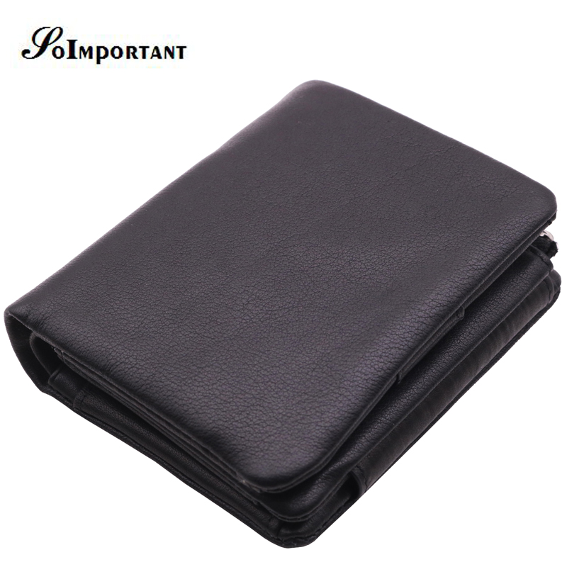 Vintage Genuine Leather Men Wallets Male Trifold Zipper Short Small Mens Wallet Portomonee Coin Purse Mini Walet Perse Carteira