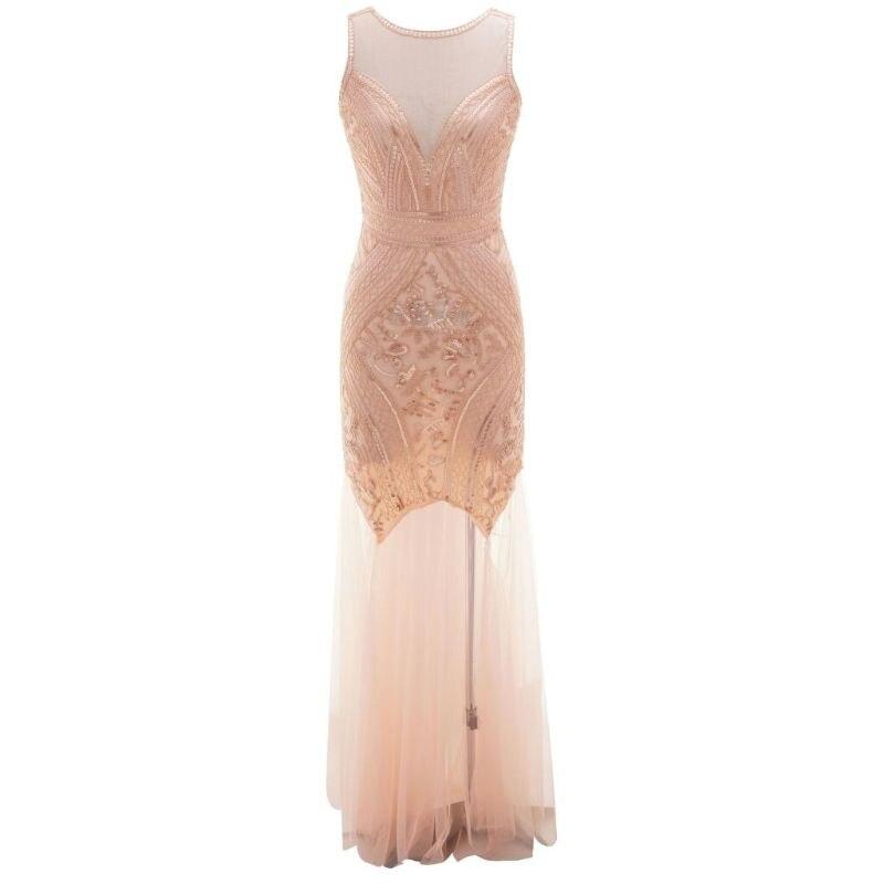 Femmes 1920s Flapper fête robe de bal longueur de plancher embelli perlé robe de gaze pailletée