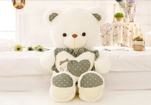 big lovely green spots teddy bear doll hold heart bear doll plush toy gift about 100cm