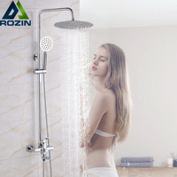 Bright Chrome Shower Set Shower Mixer Swivel Spout Bath Shower Faucet Wall Mount Stainless Steel Rainfall Shower Head 3 Function