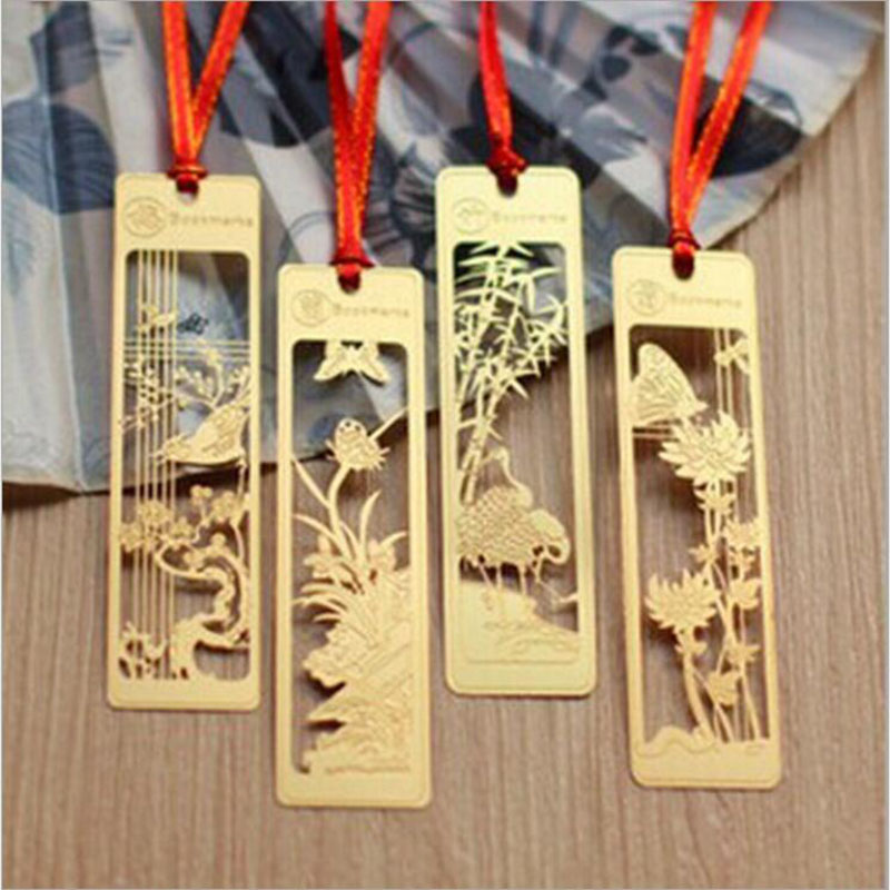 1pc Office Stationery Meilan Juzhu Bookmark Metal Retro Exquisite Bookmark Business Supplies Cute Children's Gift Stationery