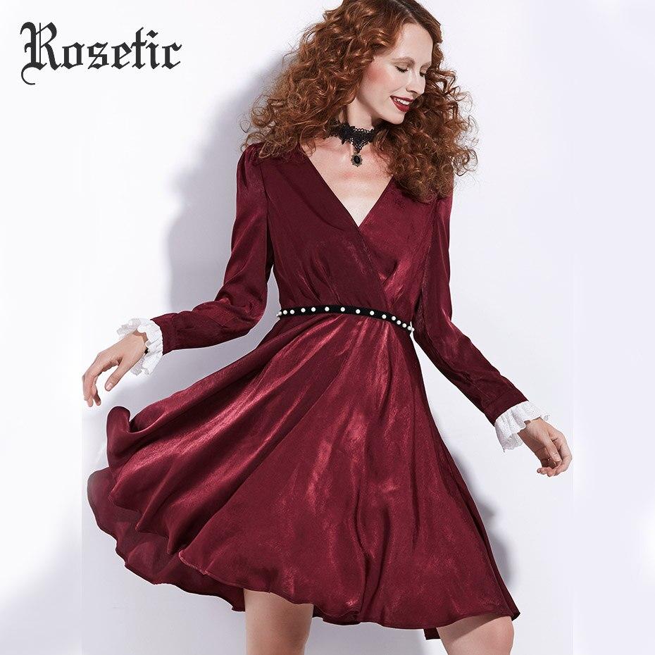 Rosetic Gothic Kleid Dunkelrot Frauen Herbst A-linie Rüschen Schärpen  V-ausschnitt Retro Kleid 347e458f80