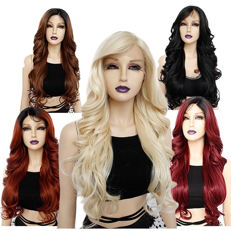 Anogol 613 Blonde  Long Body Wave 1B# Black Fiber Futura Fiber Side Part Synthetic Lace Front Wig Heat Resistant For Women