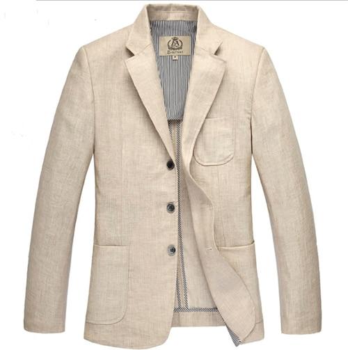 HOT 2017 spring linen suit mens clothing suit color beige Three Button male outerwear blazer plus size S-M-L-XL-XXL-3XL-4XL-5XL