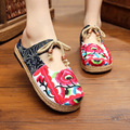 Таиланд Boho тапочки старый Пекин Хлопок льняной холст ткань обувь национальная ручной Цветочные Круглые обувь Пальца Ноги с вышитыми