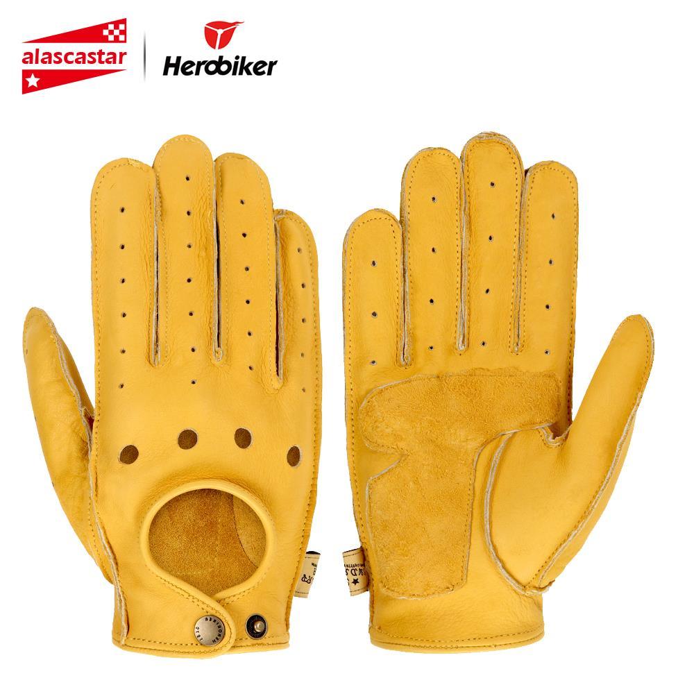 Nouveau gants de Moto en cuir de mouton véritable hommes gants de Moto à doigt complet rétro gants de Moto de Motocross Guantes Moto