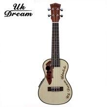23 inch Electric Ukulele Musical Spruce Sapele Grape Hole 4 Strings Guitars With Eletric Box Small Instruments 18 Frets UC-316EQ