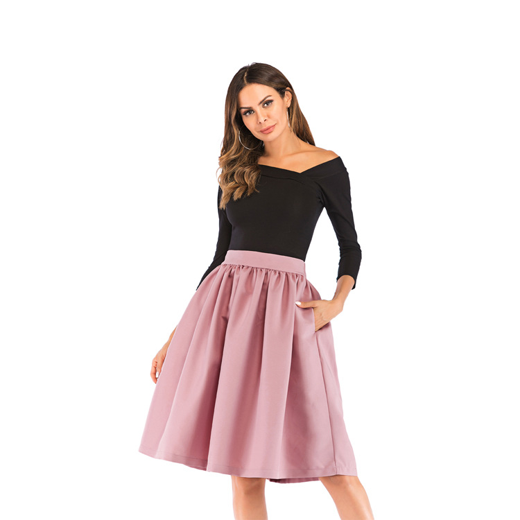 Bachash 19 New Skirt Pockets Fashion Spring Autumn Ball Gown Skirt High Waist Female Casual Solid Loose Knee-Length Skirts 14