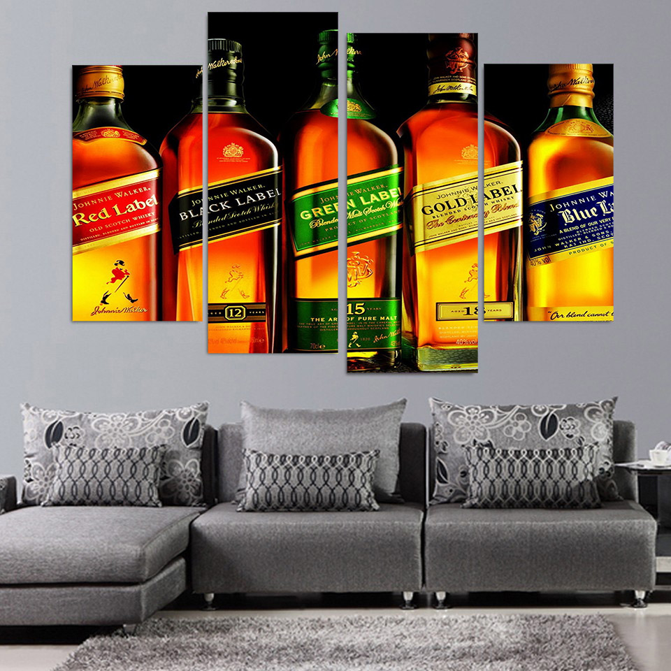 4 Piece Canvas Art Johnnie Walker Whiskey HD Printed Wall Art Home Decor Poster Picture for Living Room shelf