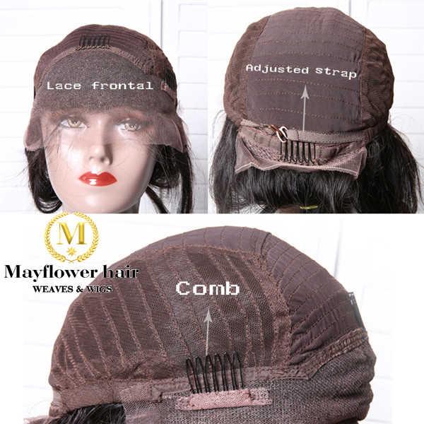 """Mayflower 13x4 """"koronki przodu peruka 100% dziewicze malezyjskie włosy głęboka fala 150% gęstości bielone węzłów z dzieckiem włosy naturalne kolor"""