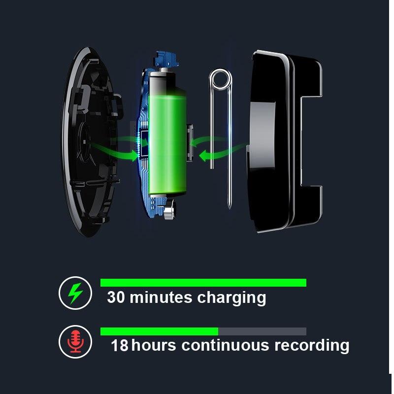 Mini enregistreur vocal avec mot de passe MP3 Audio Badge d'enregistrement activé par le son enregistrement professionnel numérique - 5