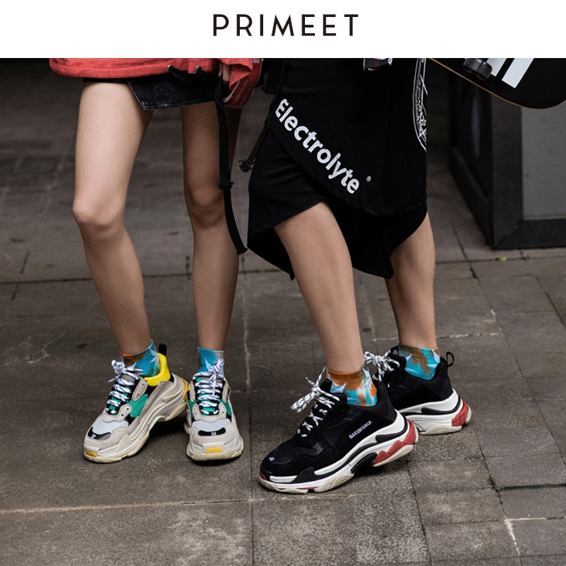 Summer Men Ankle Socks Harajuku Hip Hop Tie Dye Socks Cotton Funny Cool Fashion Colorful Weed Socks Neon Streetwear No Show Sock