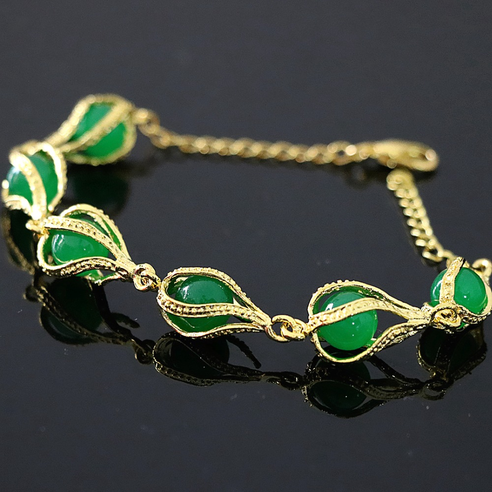 Newly Green Jades Stone Chalcedony Gold Color Teardrop Beads New Arrival Fashion Charms Bracelet Jewelry 7 5 B1166 In Bangles From Accessories On