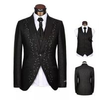 New Black Embroidery Formal Men's Suits Prom Groom Wedding Tuxedos Best Man Suit Party Business Prom Custom Made Suits A0146