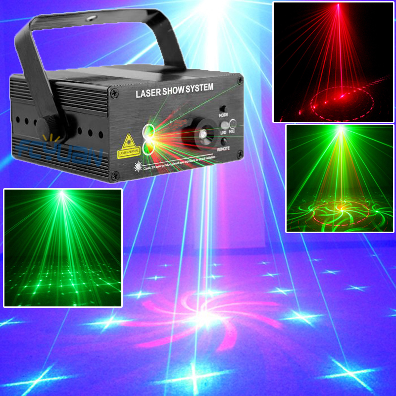 цена на 18 Patterns Blue LED Laser Light And Music Lumiere Red Green Mini Laser Projector Stage Disco Lighting Music Equipment