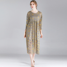 Large size women's dresses spring new Mid sleeve lace two-piece dress Plus size casual loose fashion Elegant dress crew neck цена 2017