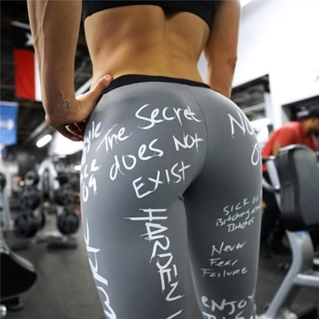 2019 New Fashion Letter Print Leggings Women Slim Fitness High Waist Elastic Workout Leggings for Gym Sport Running Europe Size 33