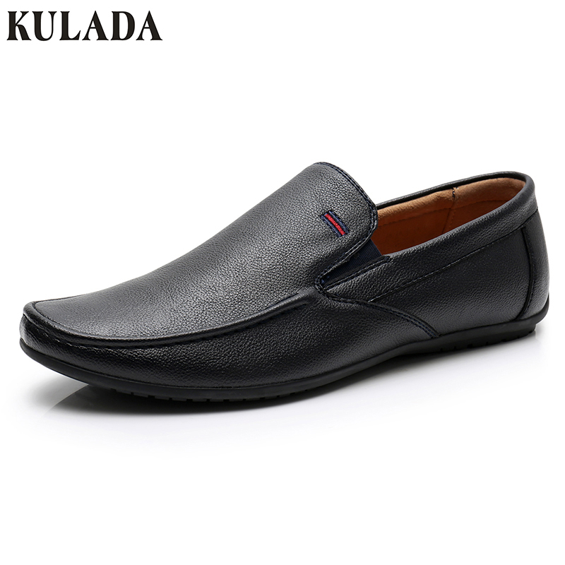 Men Flats Top Quality Comfortable Handsome KULADA Brand Casual Men Leather Boat Shoes Man Casual Walking Shoes Men 611-2D men oxfords top quality handsome comfortable meijiana brand men wedding shoes