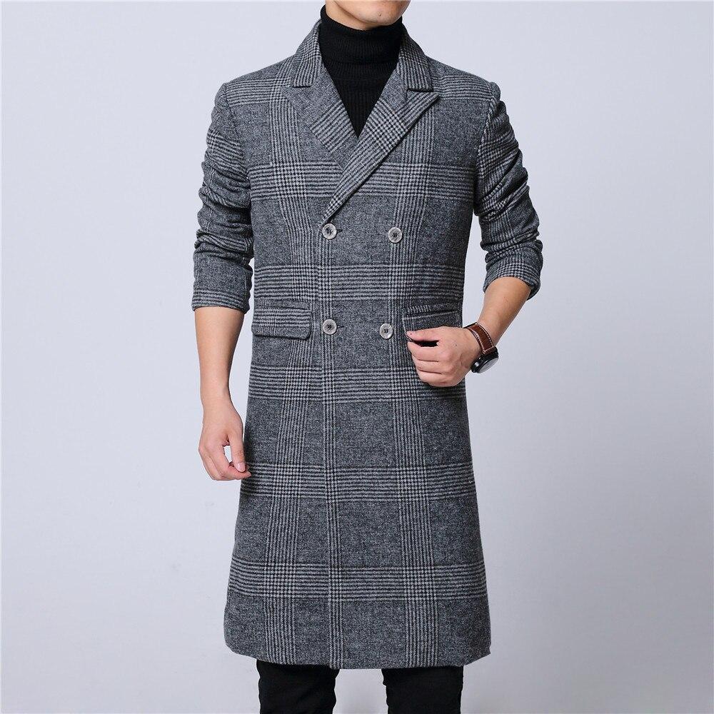 Long-Coat Plaid Woolen Winter Double-Breast Mens Gray Lapel Full M-6XL Pick Drop-Ship