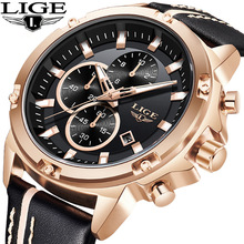 2018 LIGE Hot Luxury Brand Quartz Watch Men Large Dial Design Chronograph Sport Wristwatch Relogio Masculino Zegartek Meski