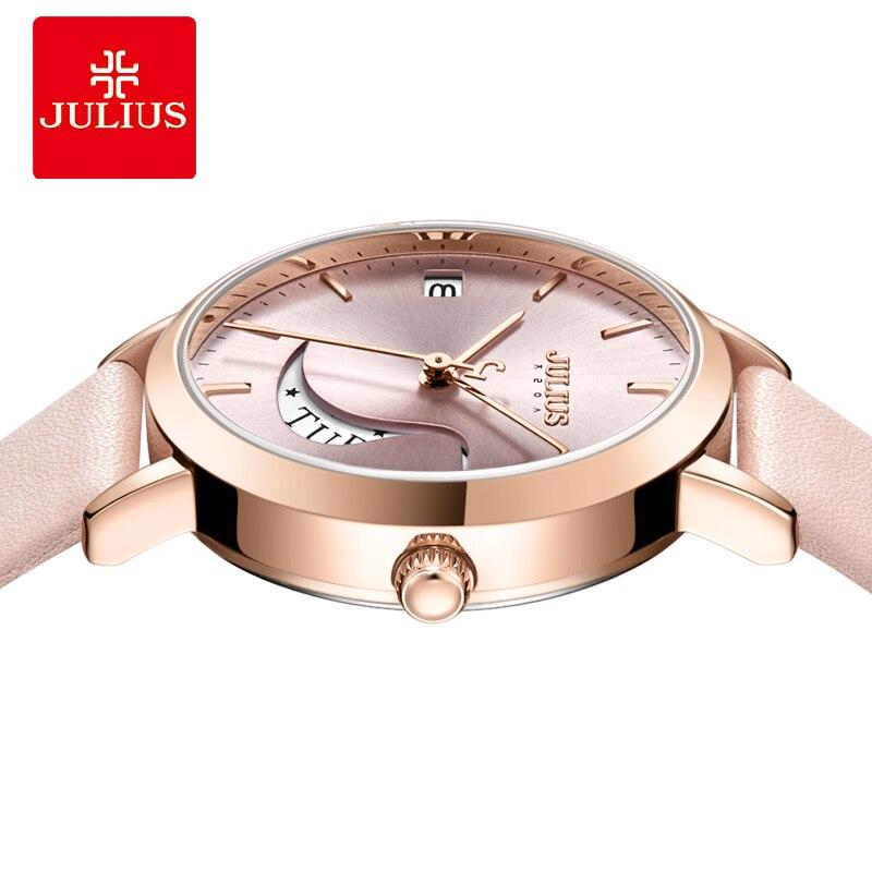 Julius montre Auto jour squelette femmes montre à Quartz haut pour femme marque de luxe femme montre-bracelet fille horloge Relogio Feminino JA-1076 - 3