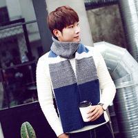 Free Shipping 2016 New Male Winter Blue Grey Black Multicolor Striped Patchwork Knitted Scarf Mens Gifts