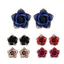 Women Fashion Rose Flower Earrings Daisy Ear Stud Alloy Jewelry