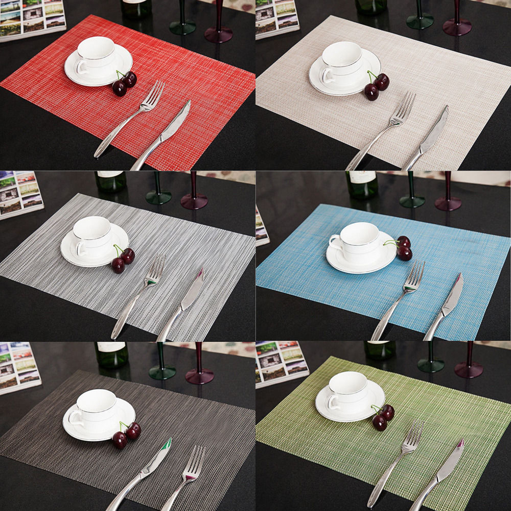 6pcs PVC Quick-drying Placemats Insulation Mats Coasters Kitchen/Dining Table Pads