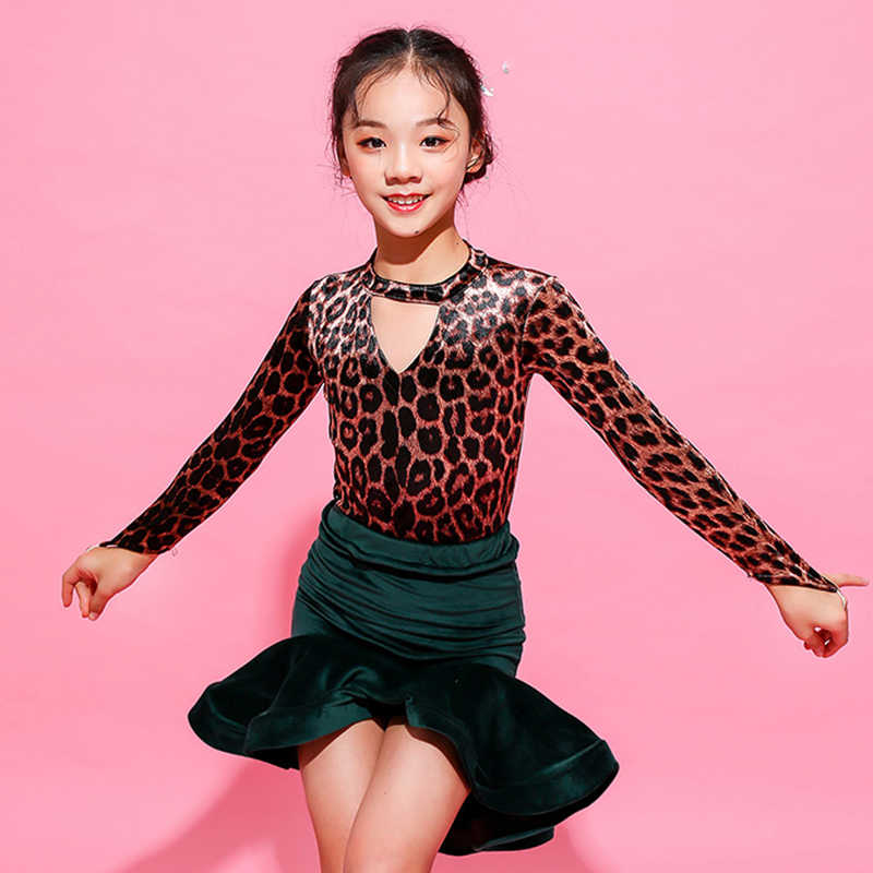 263317197921 ... Classic Girls Latin Dance Costume Leopard Print Dancing Top Green Skirt  Tango Practice Wear Kids Ballroom ...