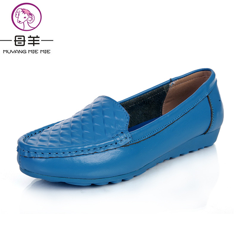 MUYANG MIE MIE 2017 new fashion women flats,women genuine leather flat shoes female round toe casual work shoes women shoes muyang new 2017 women shoes genuine leather flats round toe bowtie soft comfortable flat shoes spring autumn casual female shoes
