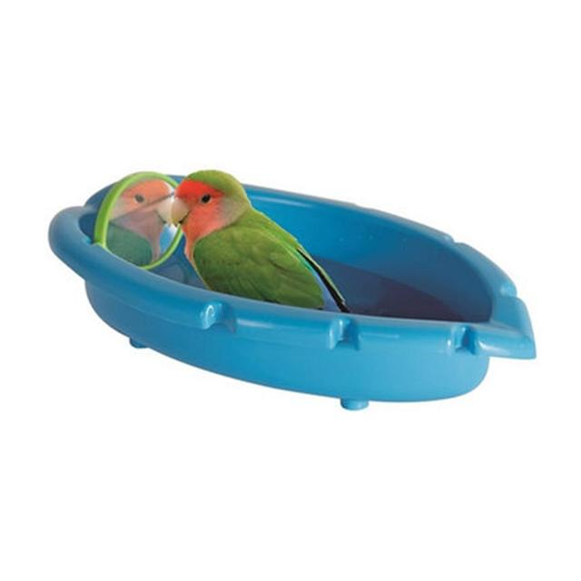 Blue Parrot Bathtub with Mirror Toy for Pet Small Medium Parrot Budgie Parakeet Cockatiel Conure Lovebird Finch Canary