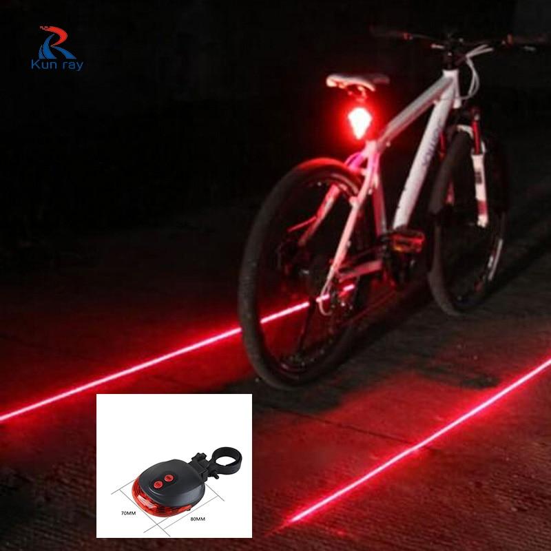 Bicicleta LED Luz trasera Advertencia de seguridad Láser Noche Montaña luces bicicleta Bicicleta Luz trasera Bicicleta Bisiklet Accesorios