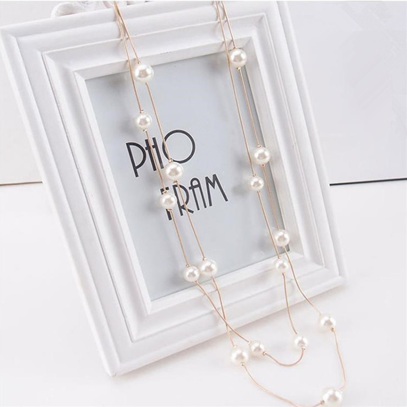 Hot New South Korea multi-storey Elegant sweater chain jewelry double-layer imitation pearl long necklace Top Quality Wholesale