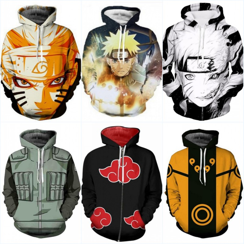 Naruto Cosplay Costume Naruto Hoodie Naruto Anime Adult 3D Hooded Sweatshirt Jacket Hip Hop Street Wear Men Women