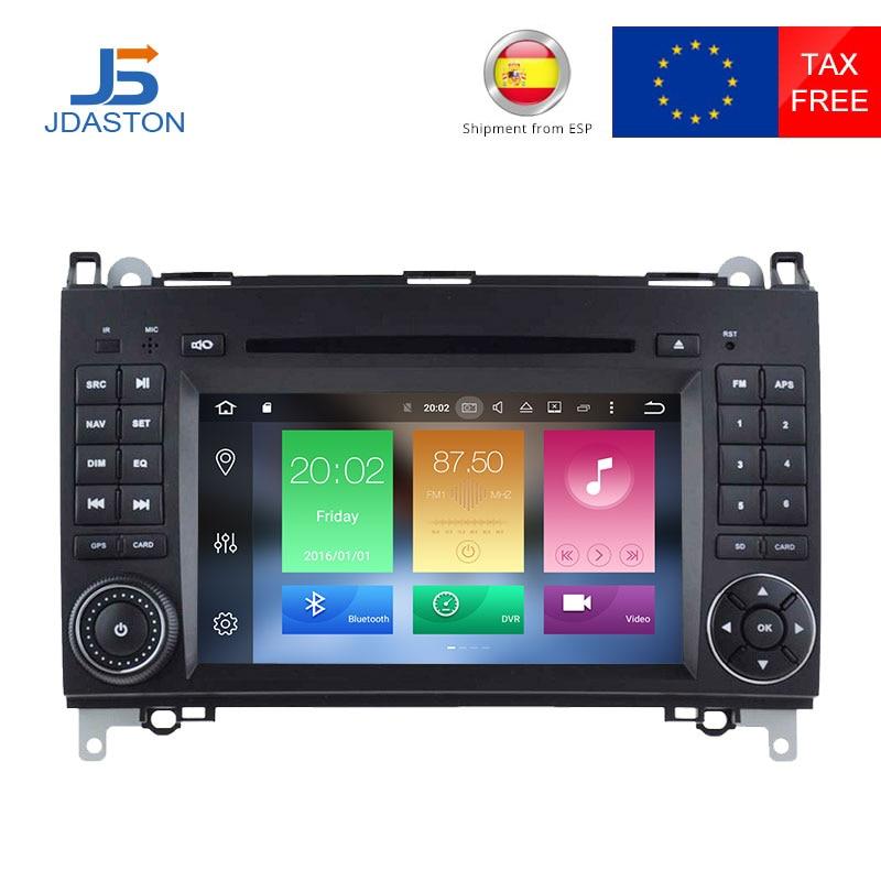 JDASTON 4g + 32g Android 8.0 Voiture Lecteur CD DVD Pour Mercedes Benz Sprinter B200 classe B w245 B170 W209 W169 Radio GPS Multimédia