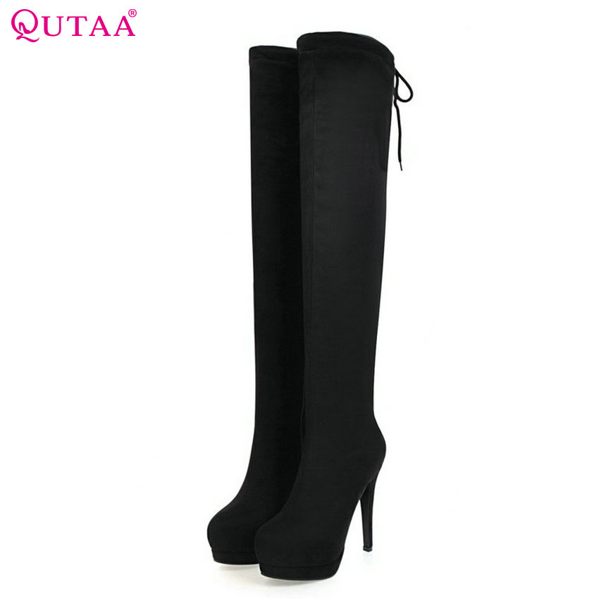 QUTAA 2017 NEW Women Over The Knee High Boots Round Toe Platform Thin High Heel Sexy Spring and Autumn Women Boots Size 34-43 nasipal 2017 new women pu sexy fashion over the knee boots sexy thin high heel boots platform woman shoes big size 34 43 g804