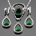 Imitated White CZ Green Created Emerald Silver Color Jewelry Sets Necklace/Pendant/Earrings/Rings For Women Free Gift Box