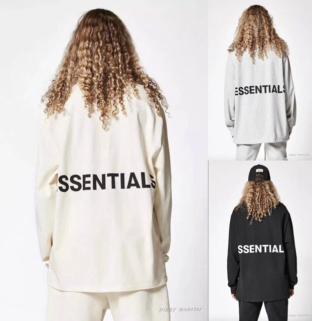 eca1fcda9c US $18.41 7% OFF|Fear Of God T shirt Men Women 1:1 High Quality 2018 Long  Sleeve Fear Of God Essentials Boxy Graphic Top Tees Fear Of God T shirt-in  ...