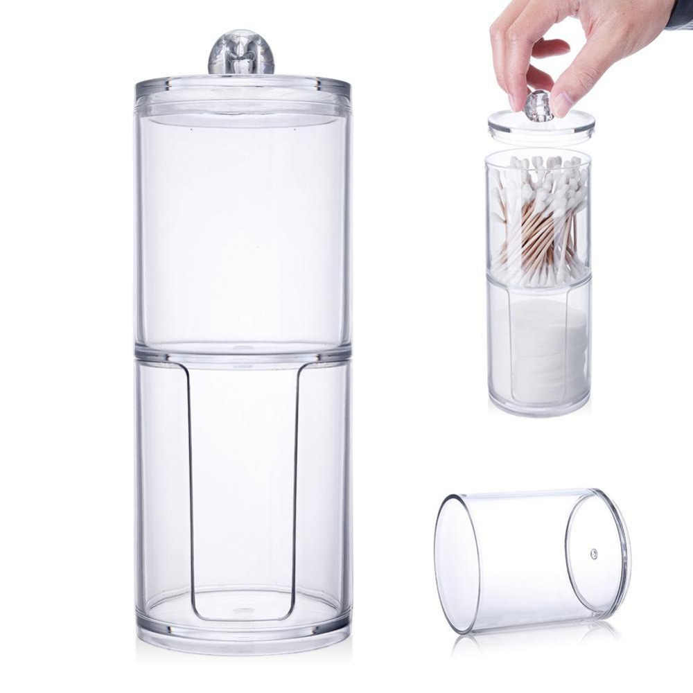 New Design Multifunctional Clear Acrylic Cotton  Swab Q-tip Storage Holder Box Cosmetic Makeup Case circular Storage Container