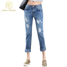 Plus Size Skinny Jeans 25-32 Women's Vintage Fashion boyfriend Ripped Jeans For Women Pants Mid Waist Trousers Fit Lady Jeans