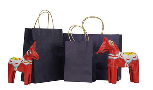 10pcs Dark Blue Kraft Paper Bags Twist Paper Handle Craft Paper