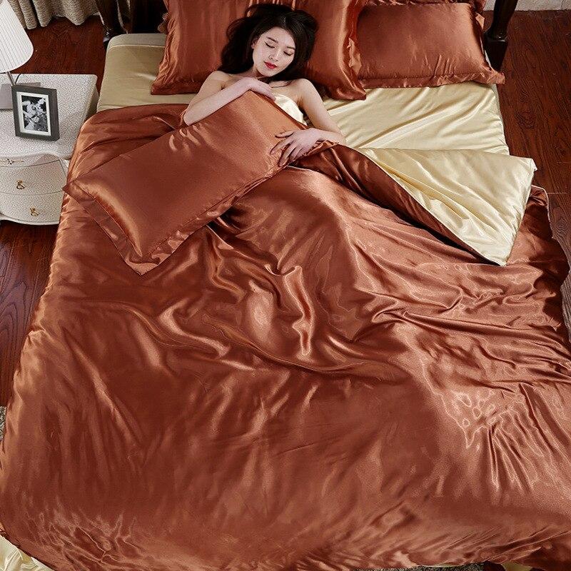 Image 3 - LOVINSUNSHINE Luxury Duvet Cover Comforter Bedding Sets Double Luxury Silk Bedding Set AX05#-in Bedding Sets from Home & Garden