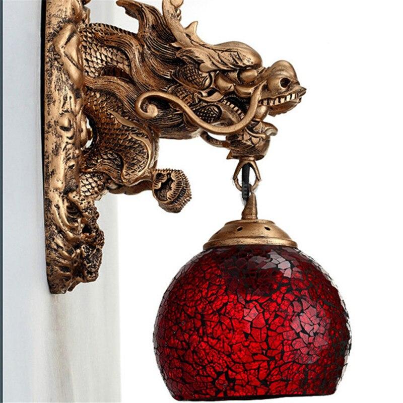 Wonderland appliques chine Dragon puissant Art applique murale salon de luxe décoration de la maison éclairage mur lampe à LED escalier tuyau - 3