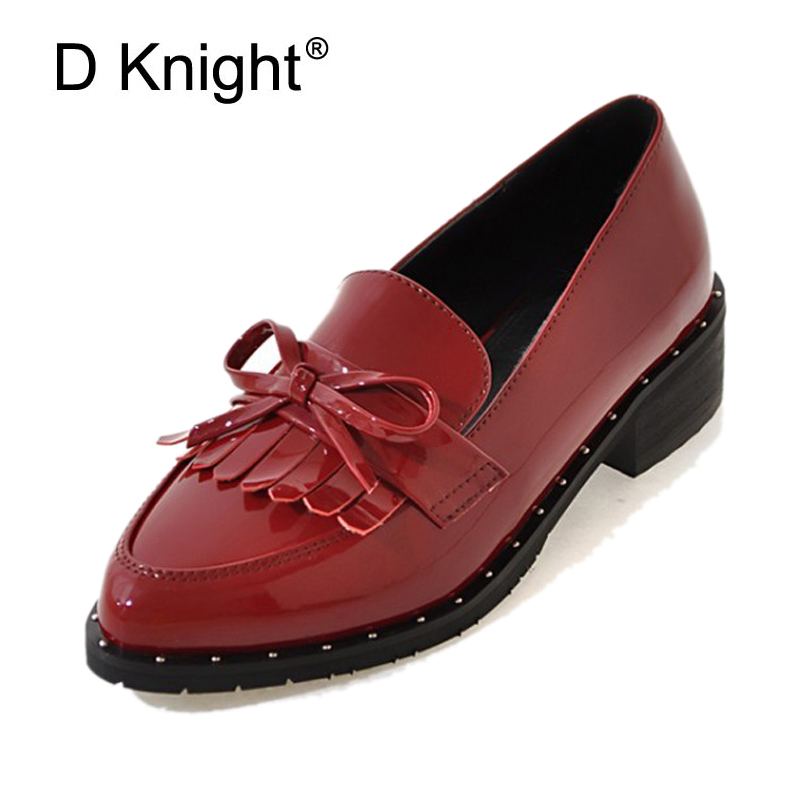 Tassel Bow Loafers Patent Leather Oxfords Shoes For Women Plus Size 31-44 Casual Creepers Slip On Flats Brogue Shoes Woman E49 qmn women crystal embellished natural suede brogue shoes women square toe platform oxfords shoes woman genuine leather flats