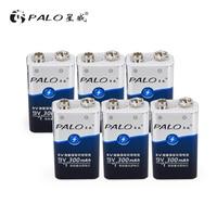 PALO 6pcs 9v 6f22 9v rechargeable battery nimh 300mah battery for Remote Control Toys Smoke Alarm Digital Camera